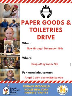 Toiletries & Paper Goods Drive Key Club & Ronald McDonald House - Donate by 12/16